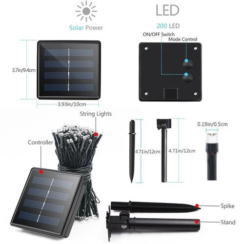 2 series solares de 200 luces led de 22 m automaticas