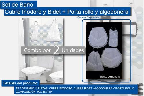 2 set baño cubre bidet + inodoro + algodonera + porta rollo