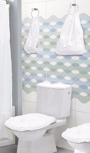 2 set baño cubre bidet +inodoro +algodonera +rollo fiorella