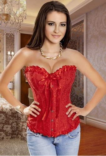 2 sexy corset negro, blanco y rojo lencería fina co301