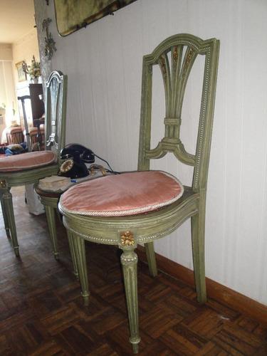 2 sillas francesa luis xvi  detalles en dorado  esterillado