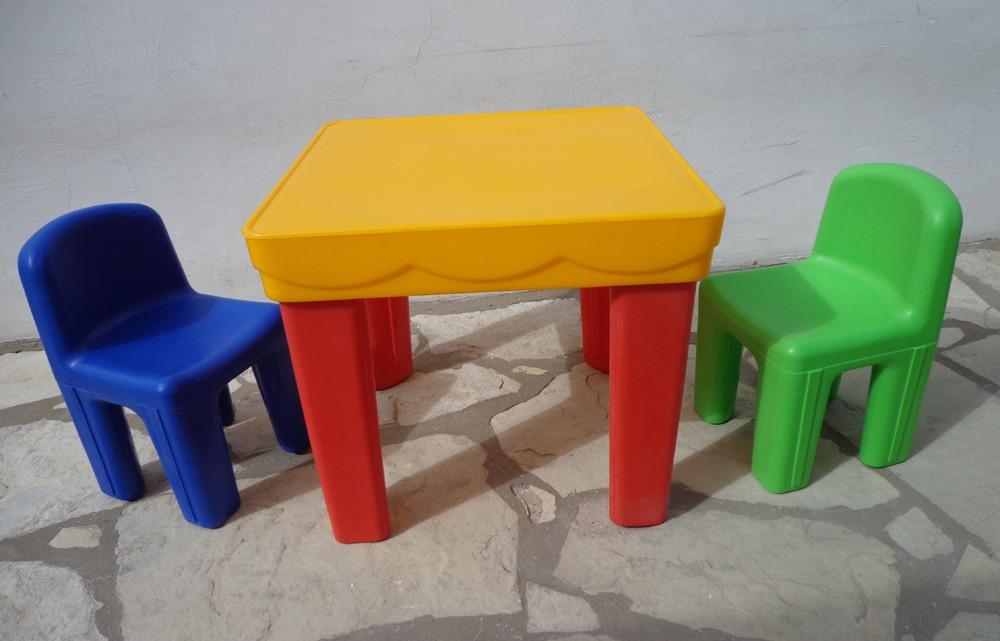 2 Sillas + Mesa Plastico Rotomoldeo Infantil Resistente Niño ...