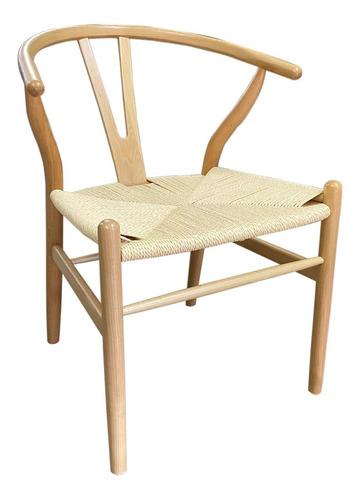 2 sillas wishbone importadas madera y rattan color natural