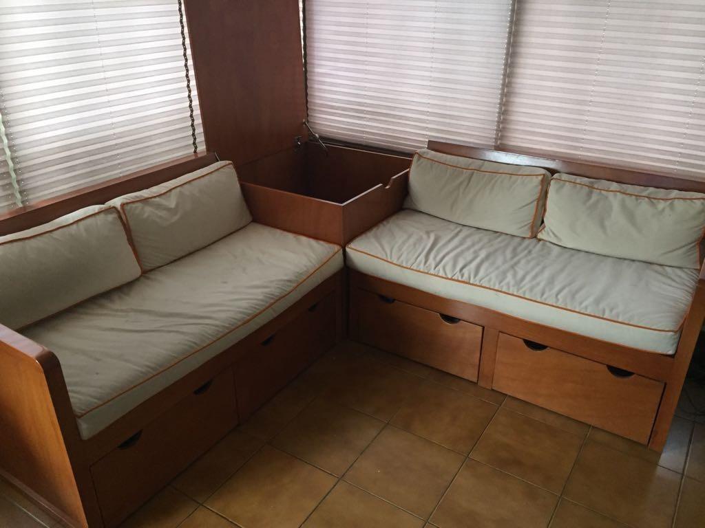 2 sillones con cajones y cojines sala de estar madera - Cojines para sillones de terraza ...