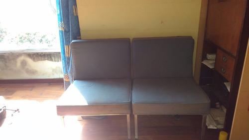 2 sillones oficina tapizado base cromada