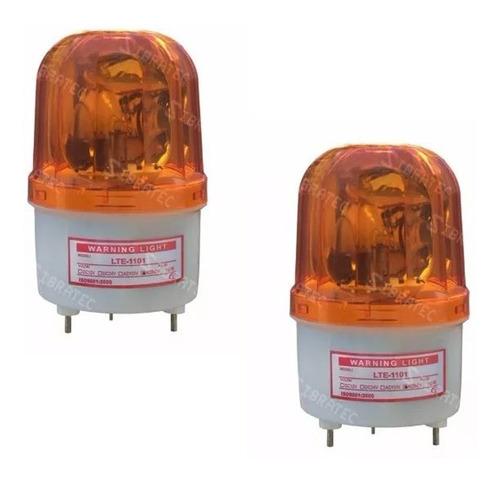 2 sinalizador giratório tipo giroflex amarelo lte1101 220vac