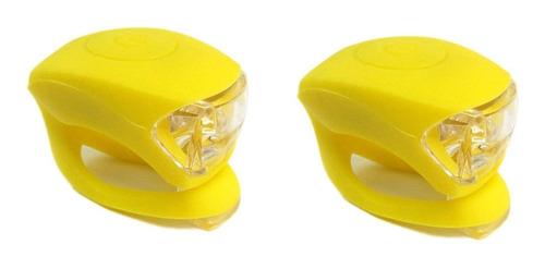 2 sinalizadores led duplo bicicleta silicone capacete amarel