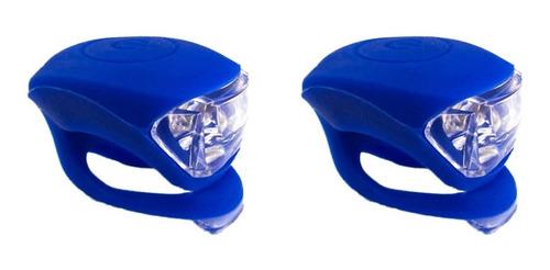 2 sinalizadores led duplo bicicleta silicone capacete azul