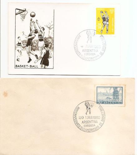 2 sobres conmemorativos de basket sudamericano 1960