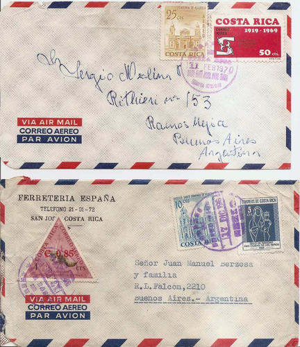 2 sobres de costa rica enviados a argentina por correo aereo