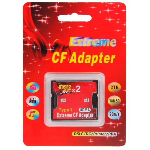 2 sockets micro sd adaptador memoria cf compact flash