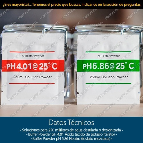 2 solucion buffer 4.01 y 6.86 ph para calibrar medidor