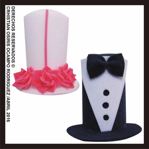 2 sombreros espuma boda novios fiesta peluca lentes dj novia
