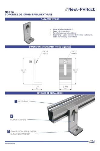 2 soporte l de 105mm para next rail
