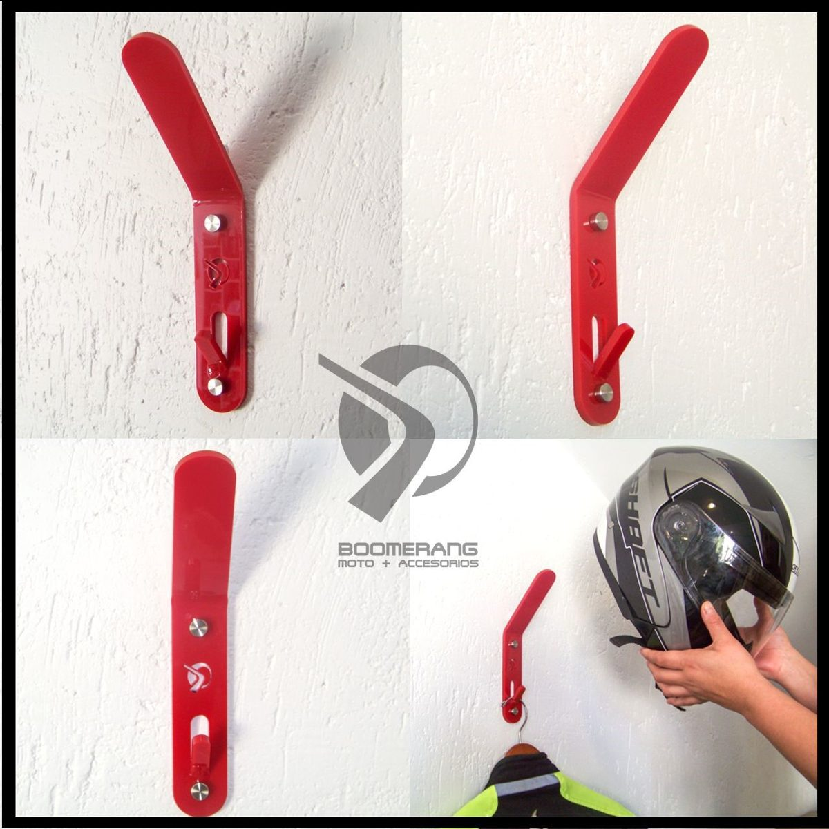 2 soporte s de pared perchero s para casco de moto for Percheros para colgar en puertas