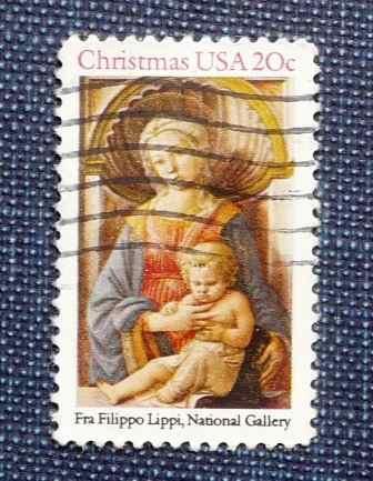 2 stamp estampilla navidad usa 20c fra filippo lippi raphael