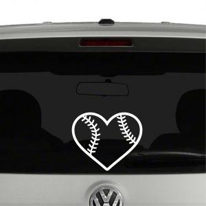 2 sticker vinil autoadhesivo corazon beisbol 14x12cm