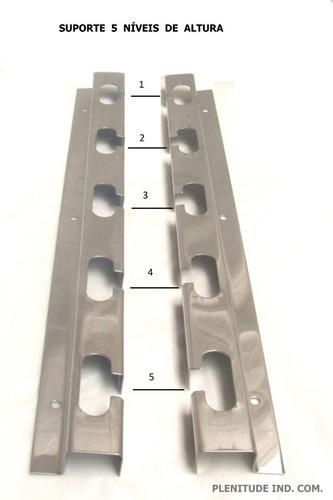 2 suportes churrasqueira 5 posições + 3 barras alum 1 metro