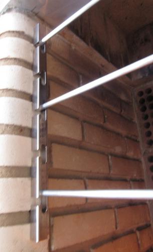 2 suportes p/ churrasqueira inox+ 3 barras maciça alum 75cm