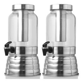 2 Suqueira C/ Porta Gelo 3 Litros Polida Aluminio E Vidro