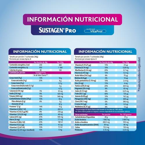 2 sustagen® pro vainilla 900 g + 1 lata de 400 g gratis