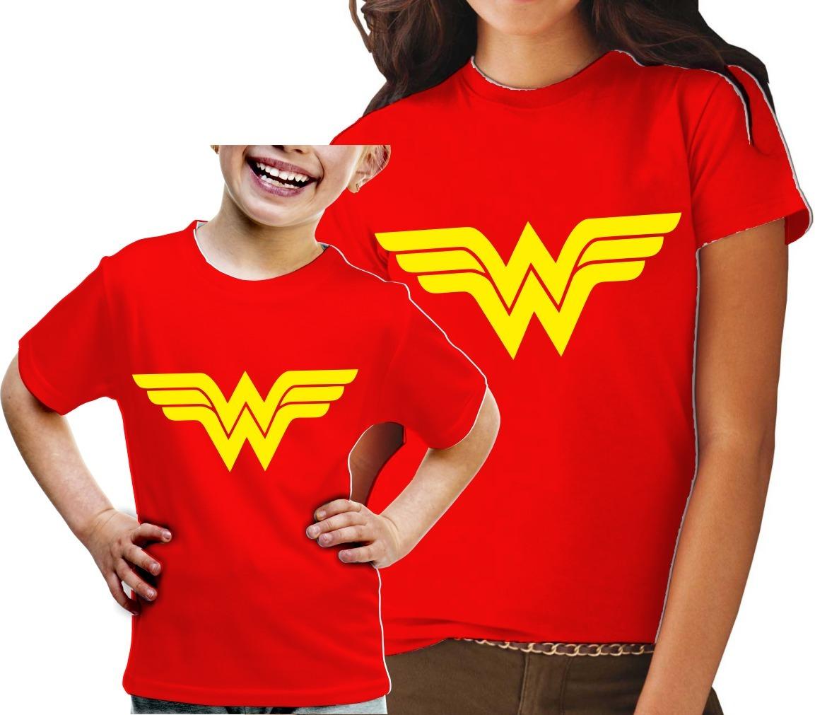 67f47b1a7 2 T-shirt Mulher Maravilha Camisetas Vermelhas Mãe E Filha - R  67 ...