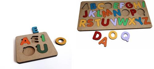 2 tabuleiro alfabeto+ vogais brinquedo educativo pedagógico