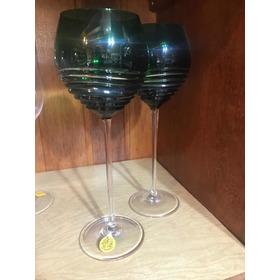 2 Taças De Cristal Para Água, Strauss 27cm Verde