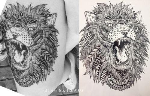 2 tatuagens temporária 18 x 14 cm  leão maori nº 11