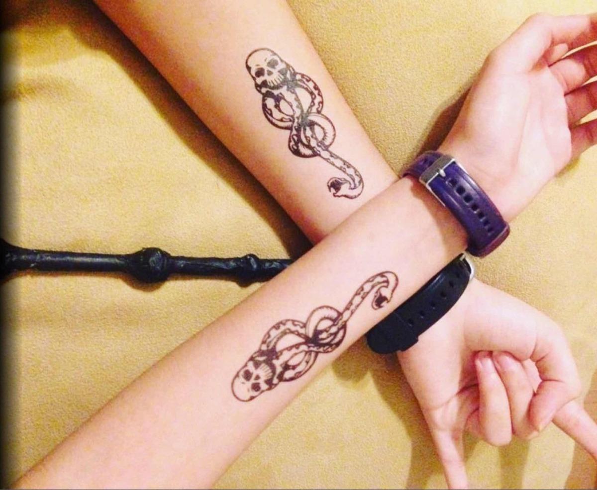 2 Tatuaje Temporal Harry Potter Marca Tenebrosa Oscura 7000 En