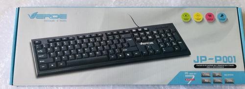 2 teclado standart usb abnt2 preto c/ fio jp p001 atacado