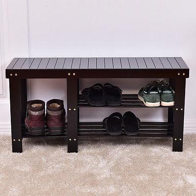 2-tier Bambú Zapato Banco Arranque Organización Rack Entrada ...