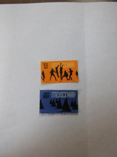 2 timbres postales olimpiadas méxico 68