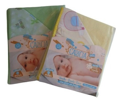 2 toalhas banho bebe dupla face com capuz e forro em fralda