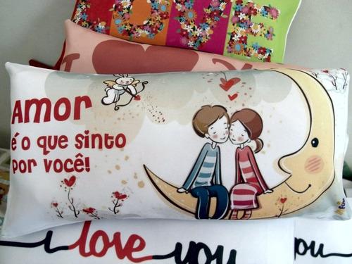 2 travesseiros almofada lembrancinha 40x20 dia dos namorados