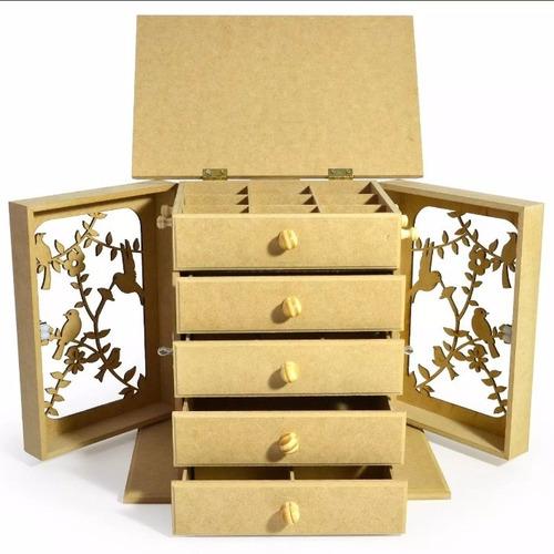 2 trio nicho quadrado simples + porta colar pássaro- mdf cru