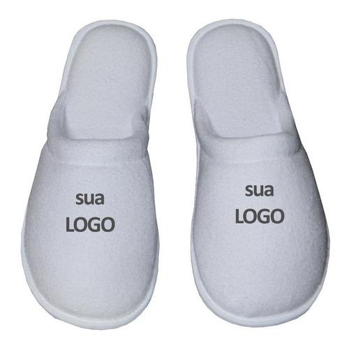 2 un chinelo pantufa  quarto logo sublimação personalizada