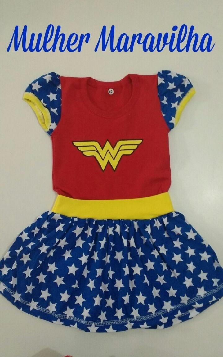 d18c84dc4 2 Und Vestido Mulher Maravilha Infantil - R$ 55,00 em Mercado Livre