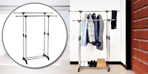 2 unid de perchero doble colgador de ropa portátil con rueda