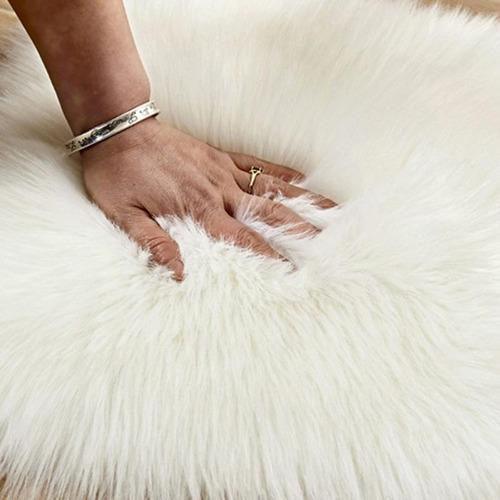 2 unid tapete coração peludo 40x30 cm - decorção - branco