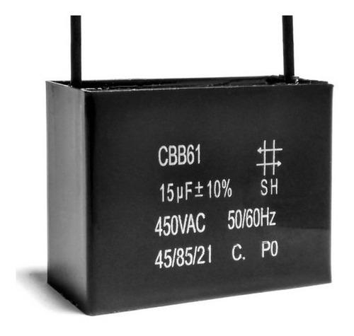 2 unids capacitor de partida 15uf x 450vac fio cbb61