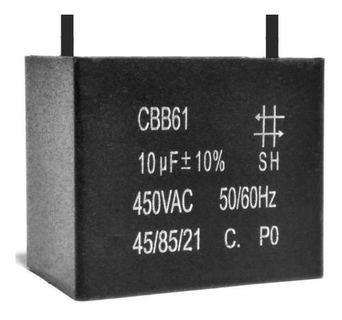 2 unids capacitor partida 10uf x 450vac fio cbb61 45/85/21