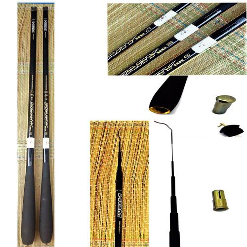2 vara 100% pesca fibra carbono telescópica 3,6mt ultra leve