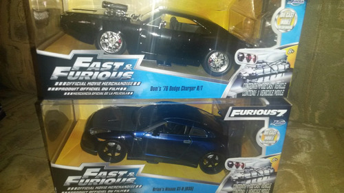 2 vehiculos fast and furious (charger negro y nissan azul)