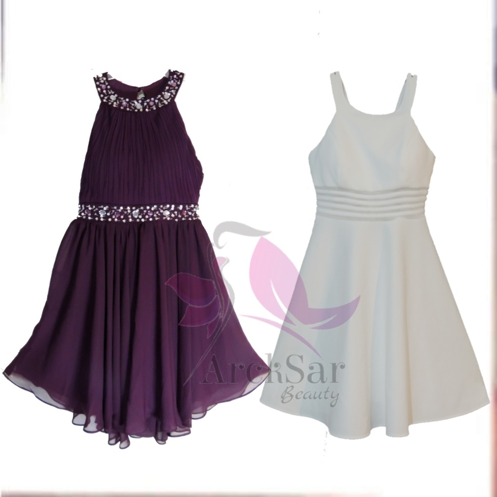 2 Vestidos Cortos Nina Ferré Color Uva Y Hueso Talla 9