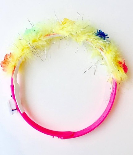 2 vincha tiara collar led plumas cotillon luminoso fiesta