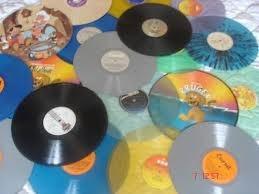 2 vinilos grandes discos lps acetatos para decoración negros
