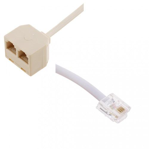 2 way rj11 6p4c splitter+rj11 to rj45 ethernet telephone asd