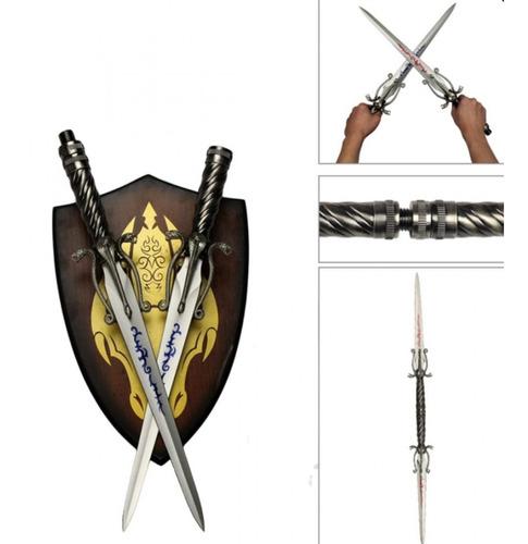 2 x 1 adaga espadas medievais vira bastao suporte parede