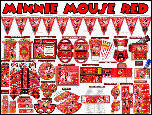 2 x 1 kit imprimible minnie roja powerpoint 3 invitaciones